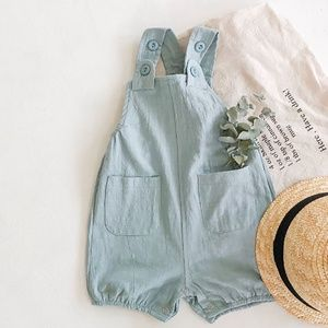 Baby Unisex Overall Suspender Trousers Romper Blue